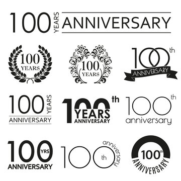 100 years anniversary icon set. 100th anniversary celebration logo. Design elements for birthday, invitation, wedding jubilee. Vector illustration.