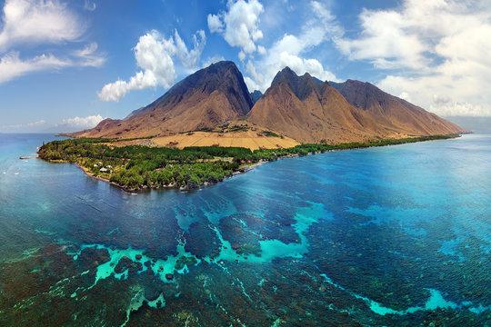 Hawaii Aerial Panorama - Island of Maui - Olowalu Area