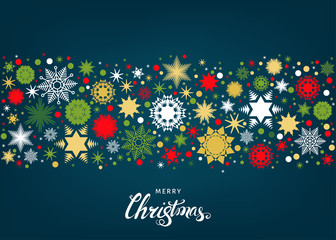 Fotomurales - Merry Christmas flat  background with  gold snowflakes  and decorations.
