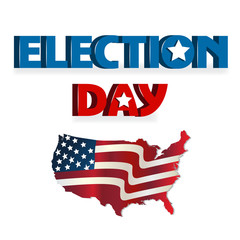 Election Day USA map icon logo vector
