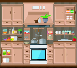 Kitchen design, a set of kitchen utensils. Vector illustration, interior.