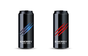 energy drink illustration 3d Advertising. Scratches on bank