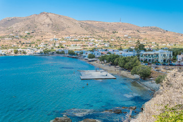 Fotobehang Kust Panoramic view of the beach at Finikas village of Syros island, Cyclades, Greece