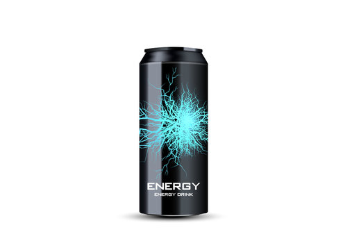 energy drink contained in metal can with electricity lightning element, teal background 3d illustration