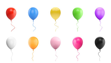 3D Rendering set of Balloon Isolated on white Background