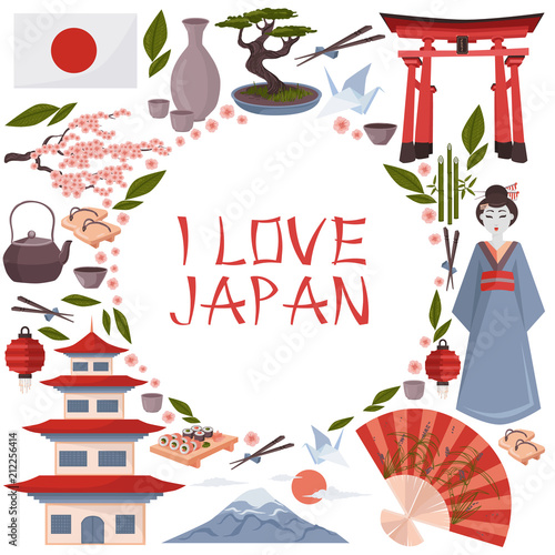 I Love Japan Poster Japanese Symbols Vector Illustration Isolated
