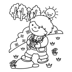 Little boy go to countryside cartoon illustration isolated on white background for children color book