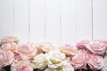 Wedding flower background on white wood