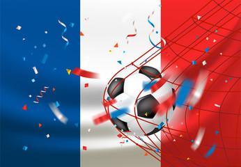 France wins. Ball in a net. Football match winner concept