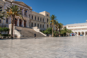 The neoclassical city Hall on the central square of Ermoupolis in Syros island, Cyclades, Greece