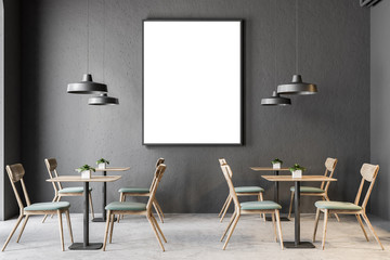 Dark gray wall pub interior, poster frame