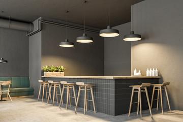 Dark gray wall pub interior, side view