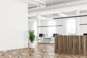 White office corner, wooden reception, plant
