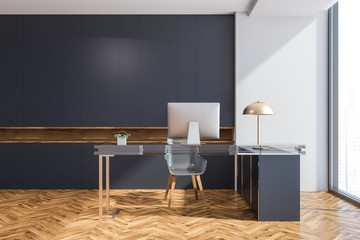 Gray wall manager office interior