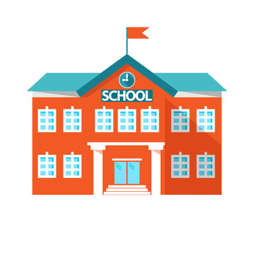 icon school. school building. vector illustration