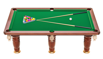 Billiard table with balls and cue, 3D rendering
