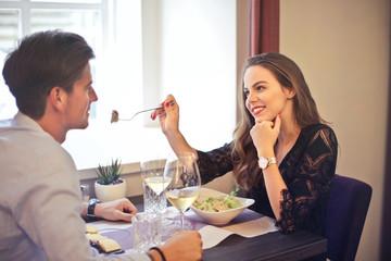 Couple having dinner in a restaurant