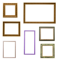 Set of photo image frames isolated on white background.