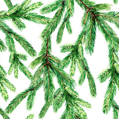 Christmas seamless pattern with fir branches. Watercolor Christmas illustration, background.