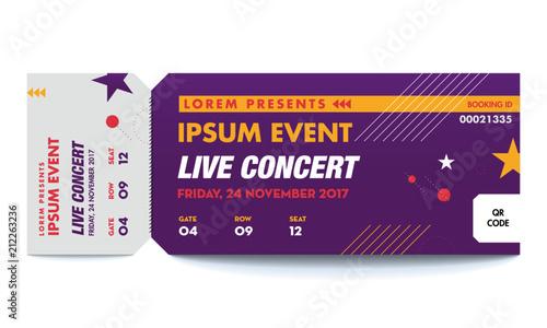 music dance live concert entrance vector tickets templates ticket