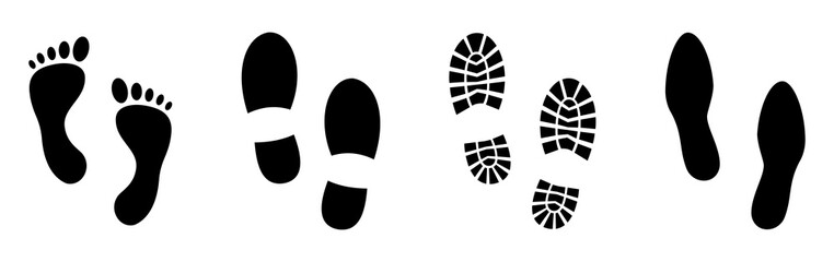 Different human footprints. Vector