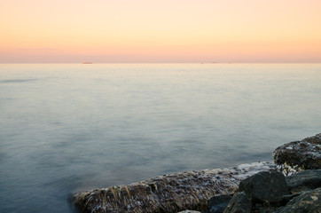 Seascape during the sunset in the Odesa of Ukraine