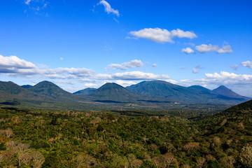 Beautiful volcanos in Cerro Verde National Park in El Salvador. Volcano scenery in Central America.