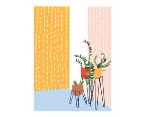 pot plants vector illustration. houseplants. hand drawn potted plants. doodles.