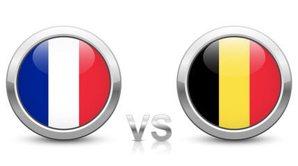 France vs. Belgium. 2018 tournament. Shiny metallic icons buttons with national flags isolated on white background.