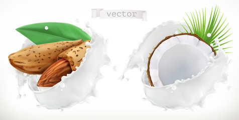 Almond, coconut and milk splash. 3d realistic vector