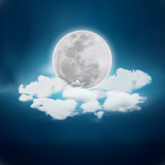 Realistic full moon. Detailed vector illustration.