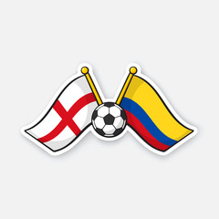 Sticker two crossed national flags of England versus Colombia with soccer ball between them