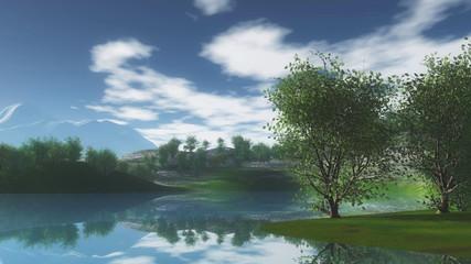 3D landscape with trees on hills alongside river