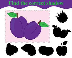 Game for children. Find the correct shadow of plums. Education. Vector illustration.