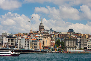 Istambul city view from a ferry