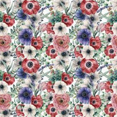 Watercolor seamless pattern with eucalyptus leaves and flowers. Hand painted red, white and blue anemones, ranunculus, berries isolated on white background. Floral botanical illustration for design.
