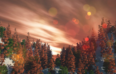 Keuken foto achterwand Chocoladebruin 3D landscape with trees on mountains against a sunset sky
