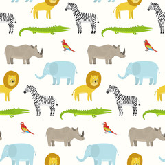Cute cartoon smiling animals seamless pattern. Texture with childish illustration of rhino, crocodile, lion, elephant, zebra for kids textile, wrapping paper, wallpaper, surface