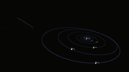 Oumuamua Comet moving through Milky way Galaxy with orbits and named planets Wide 2
