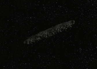 Oumuamua Comet isolated in space with out of focus background, detailed 3D model
