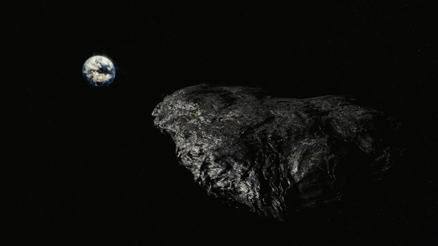 Oumuamua Comet moving through space toward earth, threatening image with stars, Realistic and detailed
