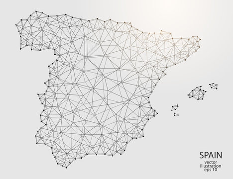 A map of Spain consisting of 3D triangles, lines, points, and connections. Vector illustration of the EPS 10.