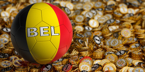 Soccer ball in Belgium national colors on golden dollar coins - 3D Rendering