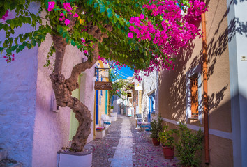 Fototapeten Schmale Gasse Paved narrow alley of Ano Syros in Syros island, Cyclades, Greece. Street view