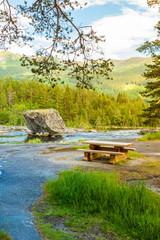 Foto op Aluminium Rivier Beautiful view of mountain river in summer