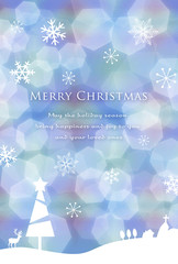 クリスマスカード ハガキサイズ ブルー ホワイト