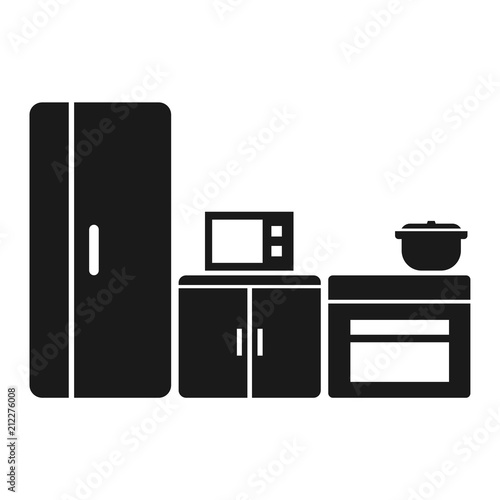 Simple Flat Black Silhouette Kitchen Icon Isolated On