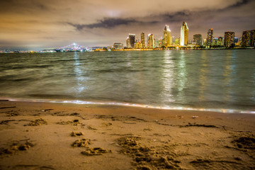 Wall Mural - San Diego Skyline with beach and bay as seen from Coronado