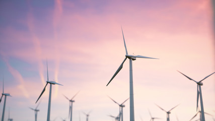 3d illustration of a beautiful, spectacular sunset on a background of wind turbines. Ecological net energy.