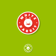 White rabbit logo. Vegetarian icon. Cute rabbit eat carrot. Vegan cafe emblem. Circle logo, on a green background. Flat logo. Monochrome option.